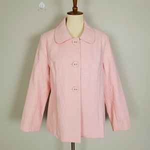 Susan Bristol Pink Peter Pan Collar Botton Jacket